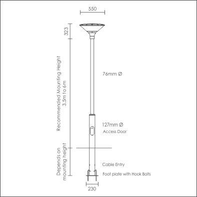 Argo Post Top on Modern Stepped Pole plinth