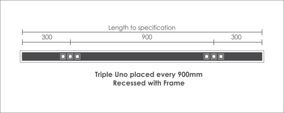 Triple Uno placed every 900mm Recessed with Frame