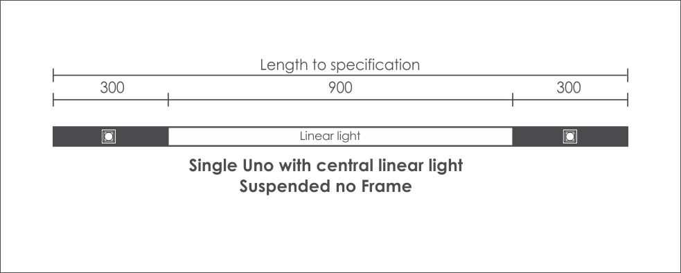 Single Uno with central linear light Suspended no Frame