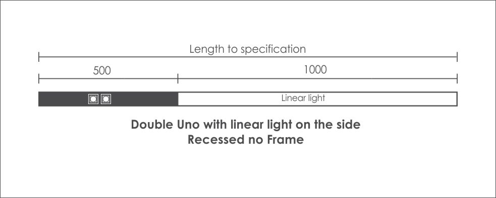 Double Uno with linear light on the side Recessed no Frame