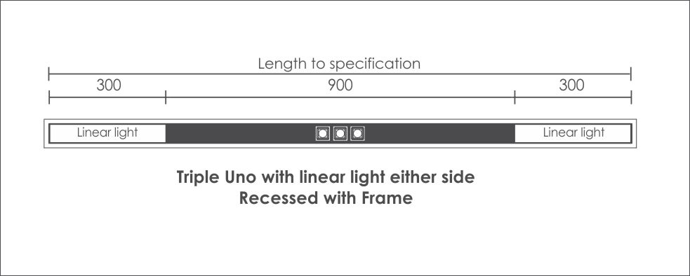 Triple Uno with linear light either side Recessed with Frame